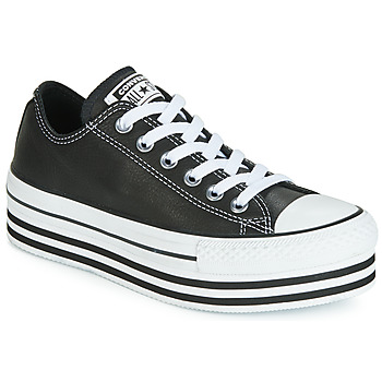 Schoenen Dames Lage sneakers Converse CHUCK TAYLOR ALL STAR LAYER BOTTOM LEATHER OX Zwart / Wit / Zwart