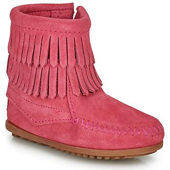 Schoenen Meisjes Laarzen Minnetonka DOUBLE FRINGE SIDE ZIP BOOT Roze