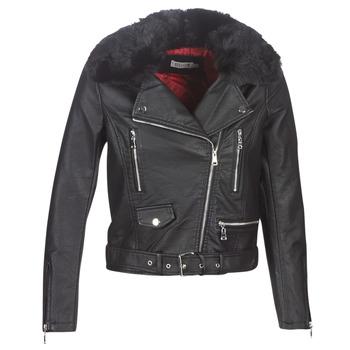Textiel Dames Leren jas / kunstleren jas Molly Bracken HA006A21 Zwart