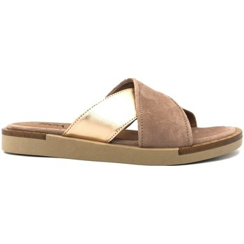 Schoenen Dames Leren slippers Ngy sandales ANNY Laminado Cipria Roze