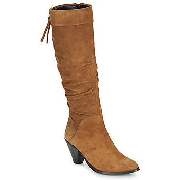 Schoenen Dames Hoge laarzen Regard RAKAFOU V2 CRTE VEL SILKY Camel