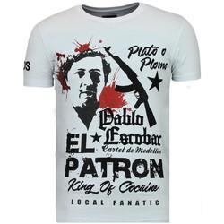 Textiel Heren T-shirts korte mouwen Local Fanatic El Patron Pablo - Rhinestone T-shirt - Wit