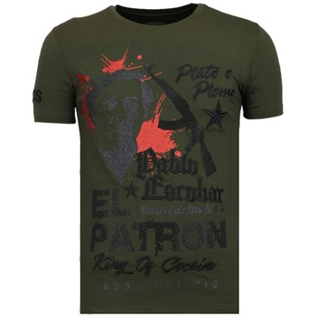 Textiel Heren T-shirts korte mouwen Local Fanatic El Patron Pablo - Rhinestone T-shirt - Groen