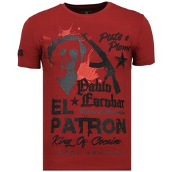 Textiel Heren T-shirts korte mouwen Local Fanatic El Patron Pablo Rhinestone Bordeaux
