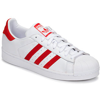 Schoenen Lage sneakers adidas Originals SUPERSTAR Wit / Rood