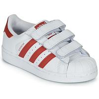 Schoenen Kinderen Lage sneakers adidas Originals SUPERSTAR CF C Wit / Rood