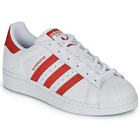 Schoenen Kinderen Lage sneakers adidas Originals SUPERSTAR J Wit / Rood