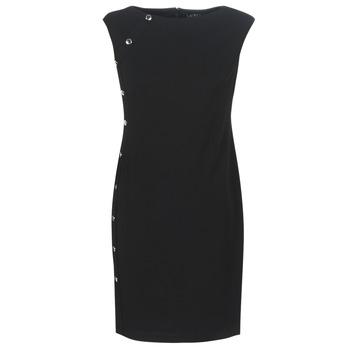 Textiel Dames Korte jurken Lauren Ralph Lauren BUTTON-TRIM CREPE DRESS Zwart