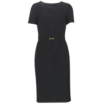 Textiel Dames Lange jurken Lauren Ralph Lauren BELTED SHORT SLEEVE DRESS Zwart