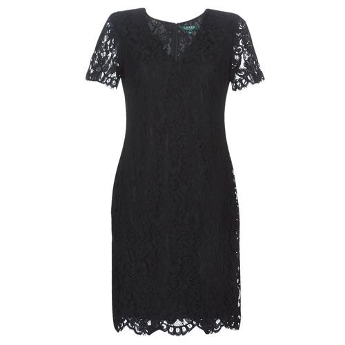 Textiel Dames Korte jurken Lauren Ralph Lauren SCALLOPED LACE DRESS Zwart