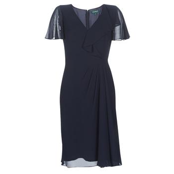Textiel Dames Lange jurken Lauren Ralph Lauren CUTLER CAP SLEEVE DAY DRESS Marine