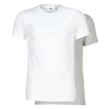 Textiel Heren T-shirts korte mouwen Levi's SLIM 2PK CREWNECK 1 Wit / Grijs