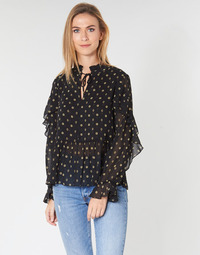 Textiel Dames Tops / Blousjes Maison Scotch SHEER PRINTED TOP WITH RUFFLES Zwart