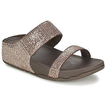 Schoenen Dames Leren slippers FitFlop LULU™ SUPERGLITZ SLIDE Bruin