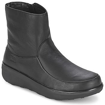 Schoenen Dames Enkellaarzen FitFlop LOAFF SHORTY ZIP BOOT Zwart