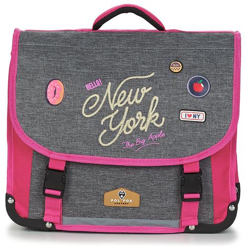 Tassen Meisjes Schooltassen Back To School POL FOX NEW YORK CARTABLE 38 CM Grijs / Roze