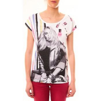 Textiel Dames T-shirts korte mouwen By La Vitrine Top Clara 1104 Blanc Wit