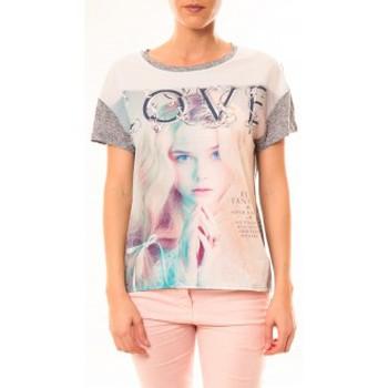 Textiel Dames T-shirts korte mouwen By La Vitrine Top Love B002 Gris Grijs