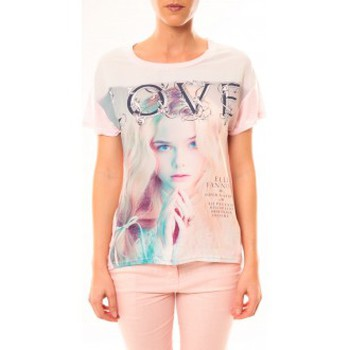 Textiel Dames T-shirts korte mouwen By La Vitrine Top Love B002 Rose Roze