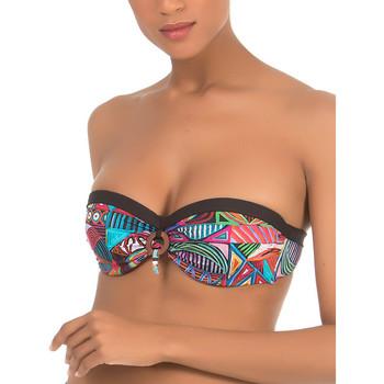 Textiel Dames Bikinibroekjes- en tops Selmark Tribal  Mare Zwart Bandeau Zwempak Top Parelmoer Zwart