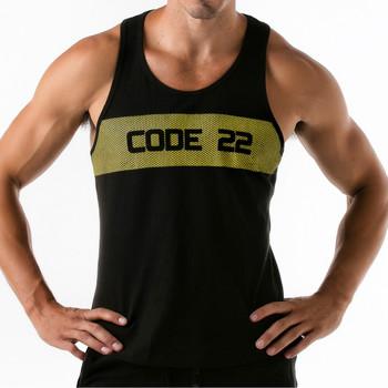 Textiel Heren Mouwloze tops Code 22 Wide Stripe Tank Top Code22 Parelmoer Zwart