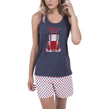 Textiel Dames Pyjama's / nachthemden Admas Innerwear pyjamabroek tank top Lets Go blauw Adma's Blauw