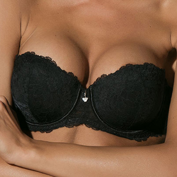 Ondergoed Dames Strapless/Verwijderbare bandjes Luna Karakter  Voorgevormde Bandeau BH Parelmoer Zwart