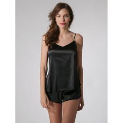 Textiel Dames Pyjama's / nachthemden Luna Prestige Shorts Parelmoer Zwart
