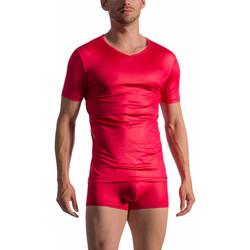 Textiel Heren T-shirts korte mouwen Olaf Benz T-shirt met korte mouwen en V-hals RED 1763 Zand