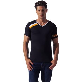 Textiel Heren T-shirts korte mouwen Code 22 Asymmetrische Sport Tee-Shirt Code22 Parelmoer Zwart