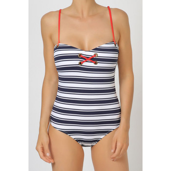 Textiel Dames Badpak Admas 1-delige jersey marinestrepen Adma's Blauw Marine