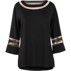 Textiel Dames Tunieken Lisca Lange mouw top Luxe Dream Parelmoer Zwart