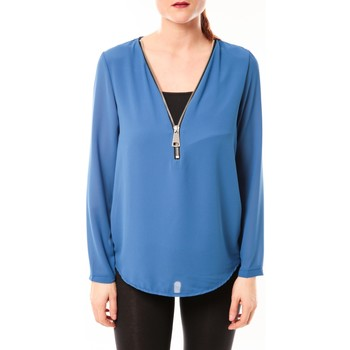 Textiel Dames Tops / Blousjes Vera & Lucy Chemisier Simple Bleu Blauw