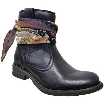 Schoenen Dames Enkellaarzen Goodstep 9510 Marineblauw leer