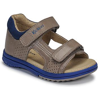 Schoenen Jongens Sandalen / Open schoenen Kickers PLAZABI Grijs / Blauw