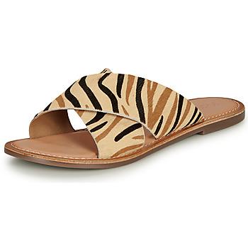 Schoenen Dames Leren slippers Kickers DIAZ-2 Beige / Zwart / Bruin