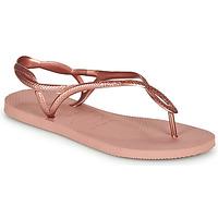 Schoenen Dames Teenslippers Havaianas LUNA Roze / Goud