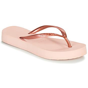 Schoenen Dames Teenslippers Havaianas SLIM FLATFORM Roze