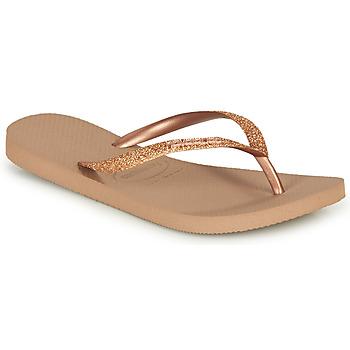 Schoenen Dames Teenslippers Havaianas SLIM GLITTER Roze / Goud