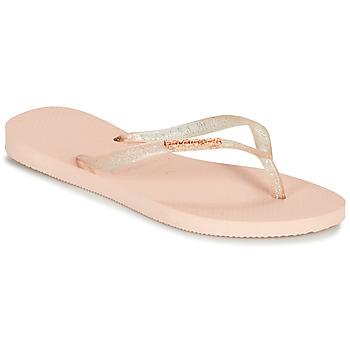 Schoenen Dames Teenslippers Havaianas SLIM LOGO METALLIC Roze