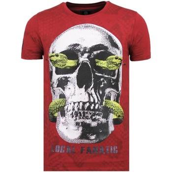 Textiel Heren T-shirts korte mouwen Local Fanatic Skull Snake - Fun T-Shirt - 6326B - Bordeaux