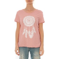 Textiel Dames T-shirts korte mouwen By La Vitrine Tee Shirt Anthracite Cake V Rose Pale Roze