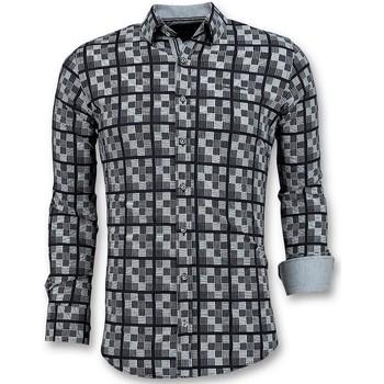 Textiel Heren Overhemden lange mouwen Tony Backer Italiaanse Overhemden - Schess Motief  - Wit