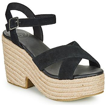 Schoenen Dames Sandalen / Open schoenen Superdry HIGH ESPADRILLE SANDAL Zwart