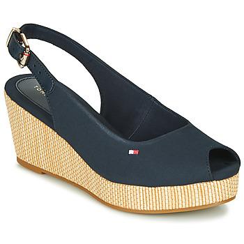 Schoenen Dames Sandalen / Open schoenen Tommy Hilfiger ICONIC ELBA SLING BACK WEDGE Blauw