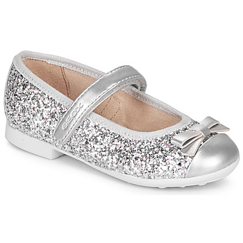Schoenen Meisjes Ballerina's Geox JR PLIE' Zilver