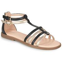 Schoenen Meisjes Sandalen / Open schoenen Geox SANDAL KARLY GIRL Zwart / Goud