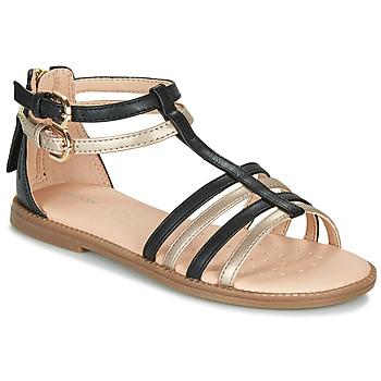 Schoenen Meisjes Sandalen / Open schoenen Geox J SANDAL KARLY GIRL Zwart / Goud