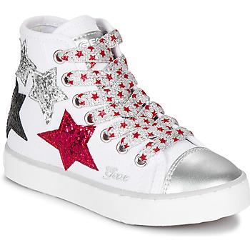 Schoenen Meisjes Hoge sneakers Geox JR CIAK GIRL Wit / Rood / Zwart