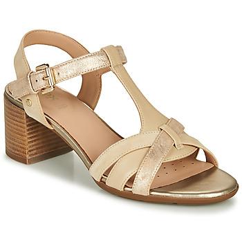 Schoenen Dames Sandalen / Open schoenen Geox D MARYKARMEN MID SAN Beige / Goud